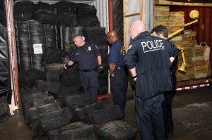 U.S. Customs and Border Protection and Homeland Security investigations led a multi-agency inspection of the MSC Gayane that resulted in the seizure of about 35,000 pounds of cocaine discovered in seven shipping containers June 17, 2019. (Credit: U.S. Customs and Border Protection)