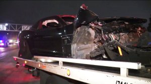 A car is seen after a crash on the 91 Freeway in Anaheim on June 14, 2019. (Credit: KTLA)