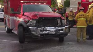 A woman was critically injured after her car collided with an ambulance in the Harbor Gateway neighborhood of Los Angeles on June 29, 2019. (Credit: KTLA)