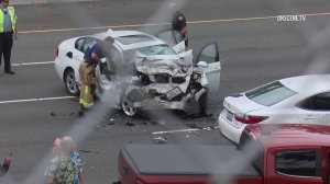 A 65-year-old woman was killed when a wrong-way driver crashed into her vehicle on Newport Beach on June 5, 2019. (Credit: OnScene.TV)