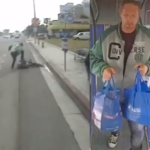 Investigators are seeking the man pictured in these surveillance images in connection with the beating of a senior citizen at a Buena Park bus stop on June 12, 2019. (Credit: Buena Park Police Department)