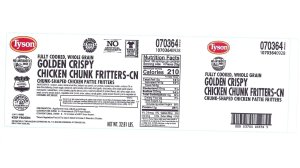 "The label for Tyson's ""Fully Cooked, Whole Grain Golden Crispy Chicken Chunk Fritters"" appears in an image released by the company in June 2019."