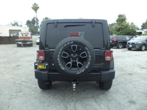 This Jeep Wrangler, fitted with red and bue strobe lights, was used by an alleged police impersonator to try to pull over a genuine police detective in Upland on June 19, 2019. (Credit: San Bernardino County Sheriff's Department)