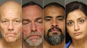 From left to right: Christopher Proglio, Richard Sanders, John Coronado and Jennifer Sandoval are seen in images provided by the Fullerton Police Department.