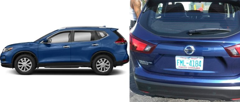 The Nissan Rouge SUV sought in connection with a homicide in Gardena, right, and a stock image of the same vehicle are seen in images released June 5, 2019, by the Gardena Police Department.