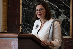 """Mexican Ambassador to the U.S. Martha Barcena speaks during a US-Mexico-Canada Agreement (USMCA) briefing prior to a reception in honor of """"Cinco de Mayo"""" at the Eisenhower Executive Office Building adjacent to the White House in Washington, D.C, on May 3, 2019. (Credit: SAUL LOEB/AFP/Getty Images)"""