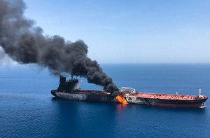 A picture obtained by AFP from Iranian News Agency ISNA on June 13, 2019 reportedly shows fire and smoke billowing from Norwegian owned Front Altair tanker said to have been attacked in the waters of the Gulf of Oman. (Credit: AFP/Getty Images)