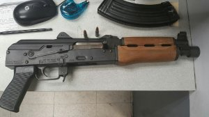 The AK-47 seized from a South Los Angeles pursuit driver's SUV on June 28, 2019, is seen in a photo released by the Los Angeles Police Department.