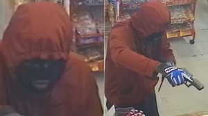 A man is seen in surveillance video released by the Hemet Police Department robbing a liquor store on June 19, 2019.