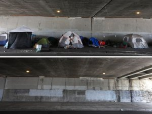 Tents line the north side of Venice Boulevard under the 405 Freeway overpass, in the city of Los Angeles, top photo. Across the street, in Culver City, there are no tents. (Credit: Francine Orr / Los Angeles Times)