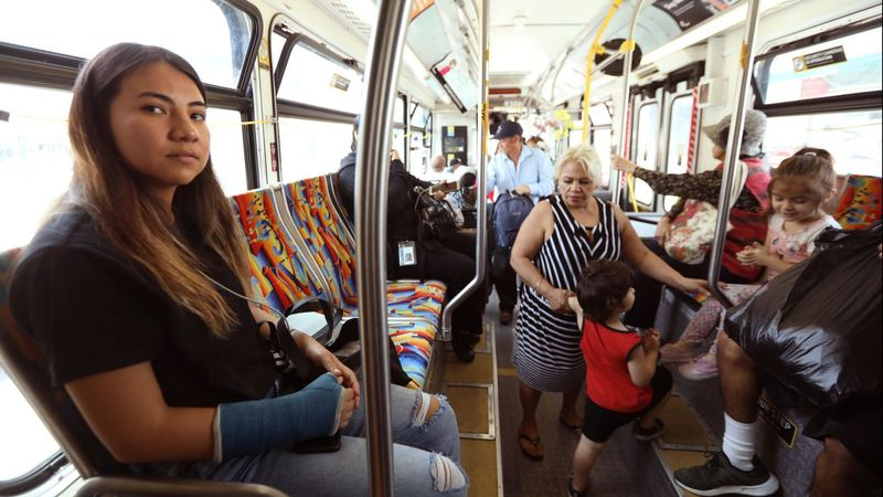 Yurithza Esparza's journey from Boyle Heights to Cal State Northridge involves three buses and a train. (Credit: Genaro Molina / Los Angeles Times)