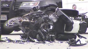 A close up shot of the LAPD motorcycle shows the damage caused by the crash on June 14, 2019. (Credit: KTLA)