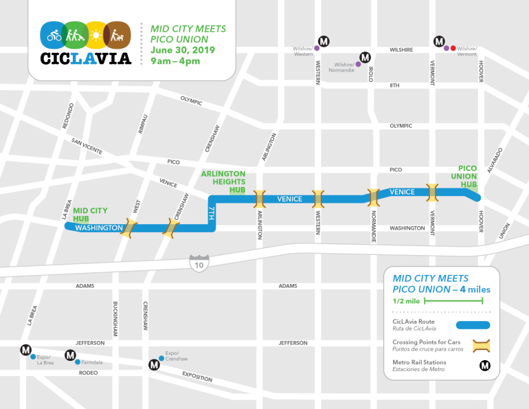 """A map shows the route for CicLAvia's """"Mid-City Meets Pico Union"""" event on June 30, 2019."""
