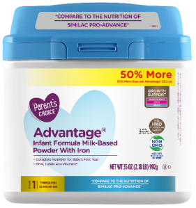 Perrigo Company released this image of Parent's Choice Advantage Infant Formula Milk-Based Powder with Iron in a recall announcement on June 21, 2019.