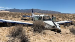 A pilot and passenger escaped harm following an emergency airplane landing in the Mojave National Preserve near Ludlow on June 30, 2019. (Credit: San Bernardino Fire Department)