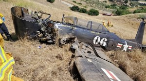 A pilot died when a small airplane crashed in a canyon near Porter Ranch on June 15, 2019. (Credit: Los Angeles Fire Department)