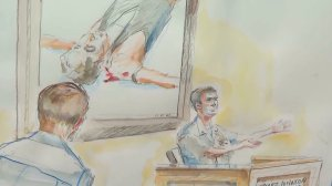 A witness testifies in the war crimes trial for Navy Special Operations Chief Edward Gallagher in San Diego on June 19, 2019. (Credit: Krentz Johnson via CNN)