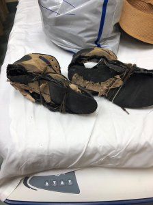 The Montrose Search and Rescue Team tweeted this photo on June 30, 2019 of Eugene Jo's shoes after he was rescued in the San Gabriel Mountains.