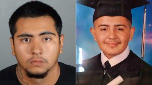 Marcos Medina, one of the suspects in the Feb. 22, 2019, killing of David Amaro-Poblano, is seen in a photo released by Gardena police on June 4, 2019. Amaro-Poblano is seen on the right in a photo posted to a GoFundMe page for his funeral expenses.