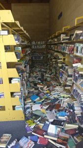 Books cover the floor at a library in Ridgecrest after a magnitude 6.4 earthquake hit the area on July 4, 2019. (Credit: Curtis Sarad / Kern County Library - Ridgecrest Branch)