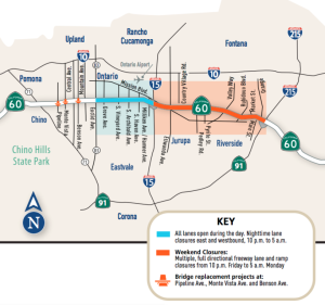 A map shows the 60 Swarm closures set to begin on July 22, 2019. (Credit: Caltrans via L.A. Times)