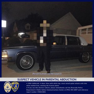 An abduction suspect's Cadillac appears in a photo released by Riverside police on July 24, 2019.