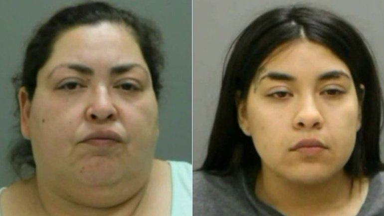 Clarisa Figueroa, left, and Desire Figueroa, right are seen in booking photos released by Chicago police and obtained by KTLA sister station WGN.