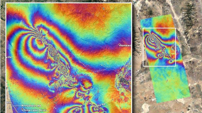 NASA's Advanced Rapid Imaging and Analysis team created this co-seismic map. (Credit: NASA/JPL-Caltech)