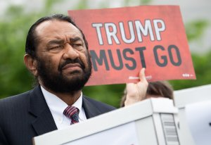 US Representative Al Green, Democrat of Texas, speaks during a press conference after receiving a computer flash drive from activist at the US Capitol in Washington, DC, May 9, 2019. (Credit: SAUL LOEB/AFP/Getty Images)