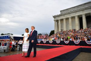 """President Donald Trump and first lady Melania Trump arrive to the """"Salute to America"""" Fourth of July event at the Lincoln Memorial in Washington, D.C., July 4, 2019. (Credit: MANDEL NGAN/AFP/Getty Images)"""