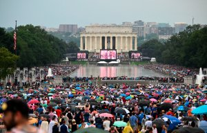 """Crowds are massed around the Reflecting Pool as President Donald Trump speaks during the """"Salute to America"""" Fourth of July event at the Lincoln Memorial in Washington, D.C., July 4, 2019. (Credit: ANDREW CABALLERO-REYNOLDS/AFP/Getty Images)"""