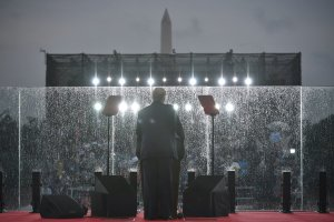 """President Donald Trump speaks during the """"Salute to America"""" Fourth of July event at the Lincoln Memorial in Washington, D.C, July 4, 2019. (Credit: MANDEL NGAN/AFP/Getty Images)"""