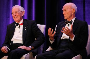"Apollo 16 astronaut Charlie Duke, left, reacts to a remark from Apollo 11 astronaut Michael Collins during the ""Legends of Apollo"" media event in Cocoa Beach, Florida on July 16, 2019. (Credit: Gregg Newton / AFP / Getty Images)"