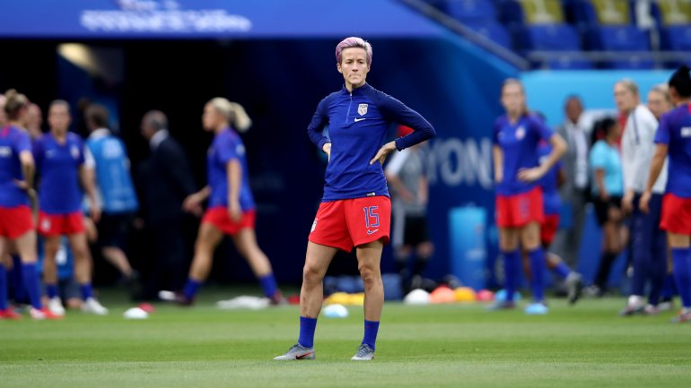 Megan Rapinoe of the USA looks on during the warm up prior to the 2019 FIFA Women's World Cup France Semi Final match between England and USA at Stade de Lyon on July 2, 2019, in Lyon, France. (Credit: Alex Grimm/Getty Images)