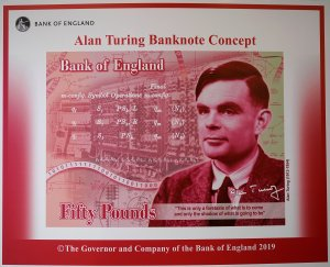 An artist's illustration of the Alan Turing 50 GBP bank note is  unveiled by The Governor of the Bank of England, Mark Carney at the Manchester Science and Industry Museum on July 15, 2019 in Manchester, England. (Credit: Christopher Furlong/Getty Images)
