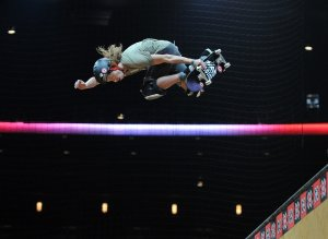 Shaun White rides in the Skateboard Vert Practice during day 1 of the X Games 17 at the Nokia Theatre at LA Live on July 28, 2011 in Los Angeles, California.  (Credit: Harry How/Getty Images)