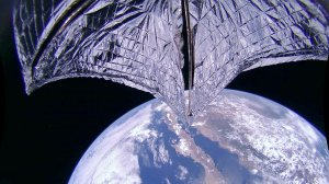 This de-distorted and color corrected image was taken during the LightSail 2 sail deployment sequence on 23 July 2019 at 11:48 a.m. (Credit: Planetary Society)