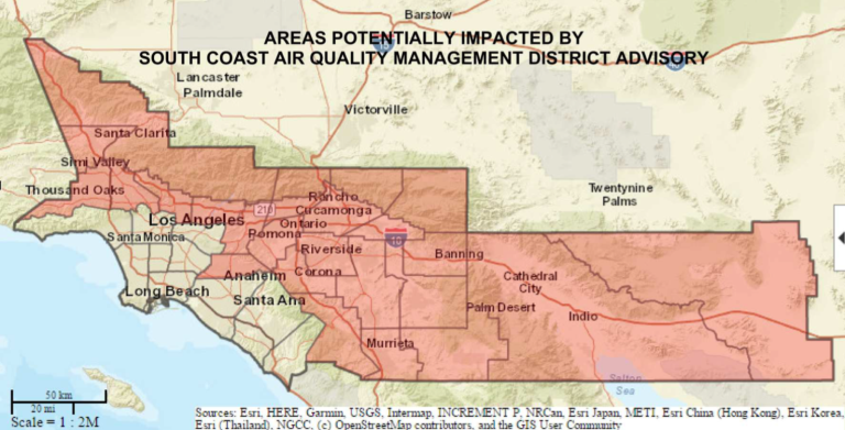 A map from South Coast Air Quality Management District shows the areas affected by a heat and smog advisory effective July 11 to July 16, 2019.