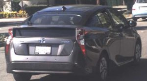 The 2017 Toyota Prius with California license plate No. 8AOR167 that a kidnapping suspect and victim are believed in be traveling in is seen in a photo released July 29, 2019, by the Los Angeles County Sheriff's Department.