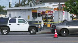 A woman was killed and a man critically injured at a Shell station in North Hollywood on July 25, 2019. (Credit: KTLA)