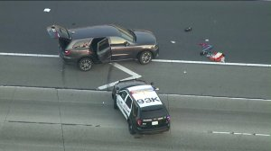 A police shooting on the 91 Freeway in Anaheim prompted a closure of all eastbound traffic lanes on July 5, 2019. (Credit: KTLA)