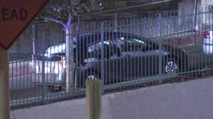 A car matching one being sought in a kidnapping case is spotted in downtown Los Angeles on July 30, 2019. (Credit: KTLA)