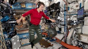 Anne McClain is seen on board the International Space Station. (CNN Photo)