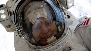 Anne McClain is seen wearing a space suit. (CNN Photo)