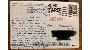 A 1993 postcard from Hong Kong that arrived in the mailbox of an Illinois woman is seen in an undated photo. (Credit: Kim Draper via CNN)