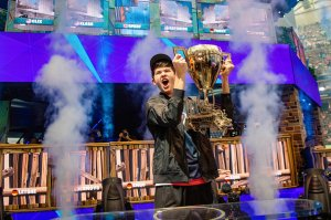 Beating out other pros and famous streamers, Kyle 'Bugha' Giersdorf, 16, made a name for himself by dominating from the first round and ultimately taking home the $3 million grand prize for individual players. (Credit: Epic Games via CNN Wire)