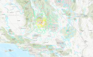The epicenter of a magnitude 6.4 earthquake that struck east-northeast of Ridgecrest on July 4, 2019, is shown in a USGS map.