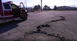 A crack is seen in a roadway in Trona on July 6, 2019.(Credit: RMG News)