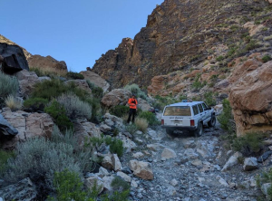 A rescue team responds to the Ancient Bristlecone Pine Forest in an undated photo provided by the Inyo County Sheriff's Office on July 14, 2019.
