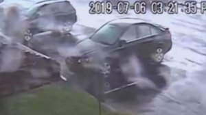 A tornado briefly touched down and flipped over a car in Mount Laurel Township, New Jersey, on July 6, 2019. (Credit: CNN)
